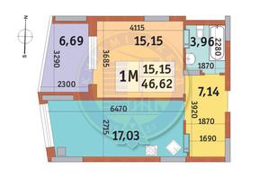 ЖК Итальянский квартал: планировка 1-комнатной квартиры 46.62 м²