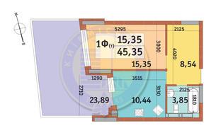ЖК Итальянский квартал: планировка 1-комнатной квартиры 45.35 м²
