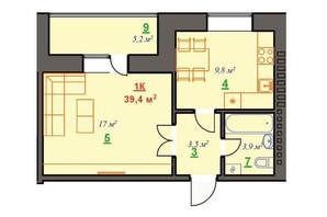 ЖК Ювілейний: планування 1-кімнатної квартири 39.4 м²