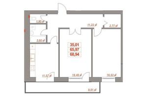 ЖК Ювілейний: планування 2-кімнатної квартири 69 м²