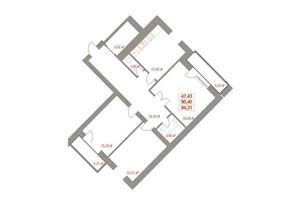 ЖК Ювілейний: планування 3-кімнатної квартири 95.79 м²