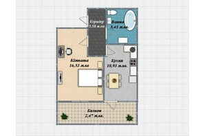ЖК Закарпатский: планировка 1-комнатной квартиры 40.9 м²