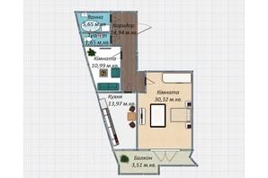 ЖК Закарпатський: планування 2-кімнатної квартири 81.03 м²
