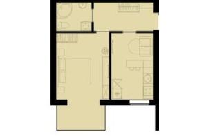 ЖК Західний Олімп: планування 1-кімнатної квартири 38.7 м²
