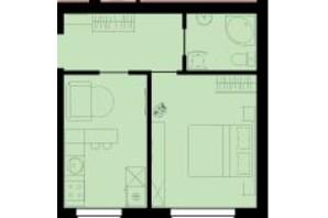 ЖК Західний Олімп: планування 1-кімнатної квартири 34.8 м²