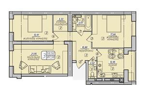 ЖК Західний: планування 3-кімнатної квартири 87.59 м²