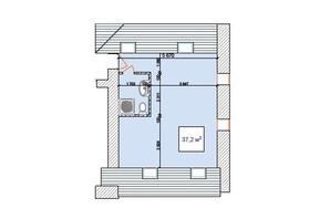 ЖК Замок Наваль: планировка 1-комнатной квартиры 37.2 м²