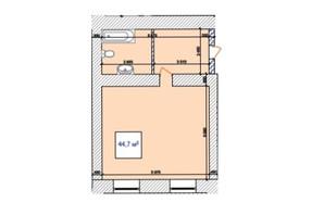 ЖК Замок Наваль: планировка 1-комнатной квартиры 44.7 м²