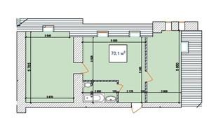 ЖК Замок Наваль: планировка 2-комнатной квартиры 70.1 м²