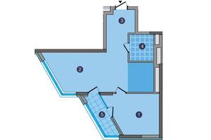 ЖК Заречный: планировка 1-комнатной квартиры 58.37 м²