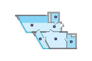 ЖК Заречный: планировка 1-комнатной квартиры 52.53 м²