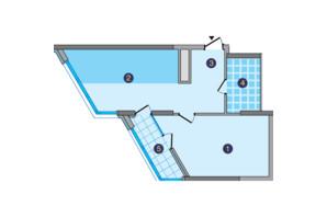 ЖК Заречный: планировка 1-комнатной квартиры 54.3 м²