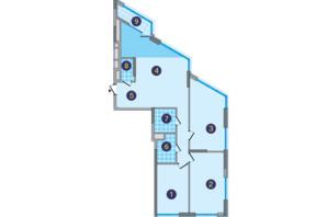 ЖК Заречный: планировка 3-комнатной квартиры 120.54 м²