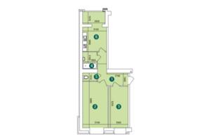 ЖК Заречный: планировка 2-комнатной квартиры 61.87 м²