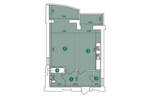 ЖК Заречный: планировка 1-комнатной квартиры 53.87 м²