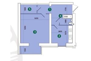 ЖК Заречный: планировка 1-комнатной квартиры 68.54 м²