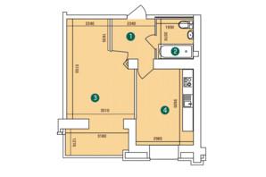 ЖК Зарічний: планування 1-кімнатної квартири 40.8 м²