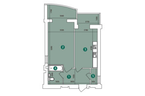 ЖК Зарічний: планування 1-кімнатної квартири 53.87 м²