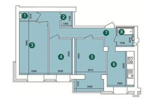 ЖК Зарічний: планування 3-кімнатної квартири 89 м²