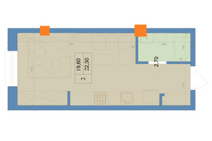 ЖК Защитник: планировка 1-комнатной квартиры 22.3 м²