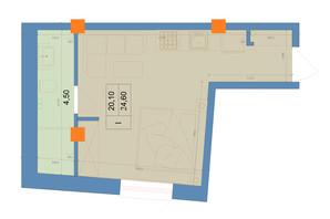ЖК Защитник: планировка 1-комнатной квартиры 24.6 м²