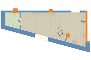 ЖК Защитник: планировка 1-комнатной квартиры 24.9 м²