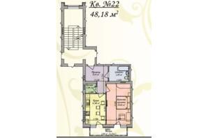 ЖК Затишна оселя: планування 1-кімнатної квартири 48.18 м²