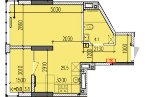 ЖК Затишний-2: планировка 1-комнатной квартиры 37.4 м²