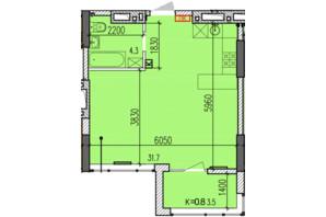 ЖК Затишний-2: планировка 1-комнатной квартиры 39.5 м²