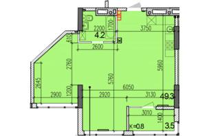 ЖК Затишний-2: планировка 1-комнатной квартиры 57 м²