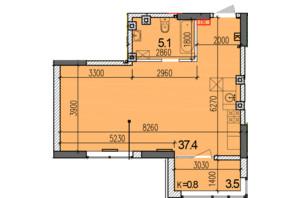 ЖК Затишний-2: планировка 1-комнатной квартиры 46 м²