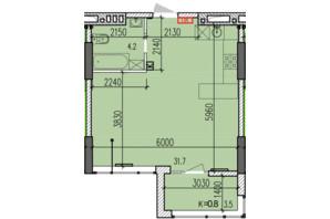ЖК Затишний-2: планировка 1-комнатной квартиры 39.4 м²