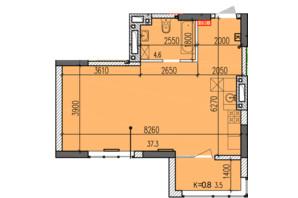 ЖК Затишний-2: планировка 1-комнатной квартиры 45.4 м²