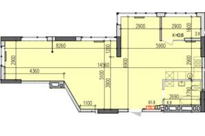 ЖК Затишний-2: планировка 2-комнатной квартиры 70.7 м²