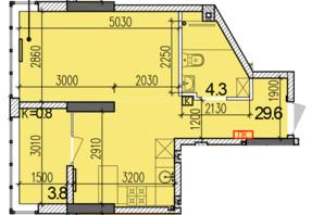 ЖК Затишний-2: планировка 1-комнатной квартиры 37.7 м²