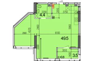 ЖК Затишний-2: планування 1-кімнатної квартири 57.4 м²