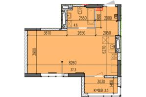 ЖК Затишний-2: планування 1-кімнатної квартири 45.4 м²