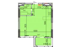 ЖК Затишний-2: планування 1-кімнатної квартири 39.6 м²