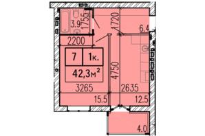 ЖК Затишний: планировка 1-комнатной квартиры 42.3 м²