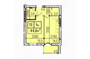 ЖК Затишний: планировка 1-комнатной квартиры 44 м²