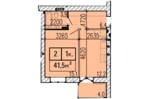 ЖК Затишний: планування 1-кімнатної квартири 41.5 м²