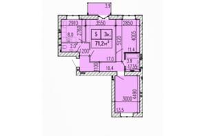 ЖК Затишний: планування 3-кімнатної квартири 71.2 м²