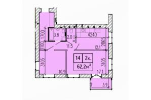 ЖК Затишний: планування 2-кімнатної квартири 62.2 м²