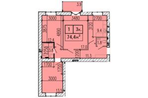 ЖК Затишний: планування 3-кімнатної квартири 74.4 м²