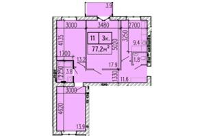 ЖК Затишний: планування 3-кімнатної квартири 77.2 м²
