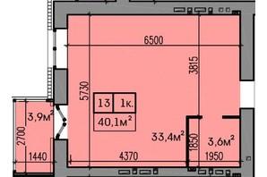 ЖК Затишний: планування 1-кімнатної квартири 40.1 м²