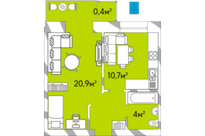 ЖК Затишний Двір: планування 1-кімнатної квартири 39.1 м²