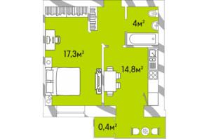 ЖК Затишний Двір: планування 1-кімнатної квартири 39.6 м²