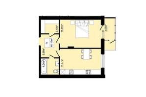 ЖК Затишний: планировка 1-комнатной квартиры 46.1 м²
