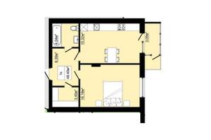 ЖК Затишний: планировка 1-комнатной квартиры 48.4 м²